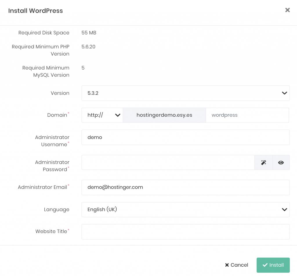WordPress kurulum ayarları