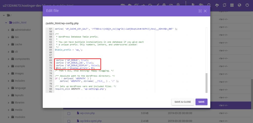wp-config dosyasını düzenleyerek wp-debug'ı etkinleştirme