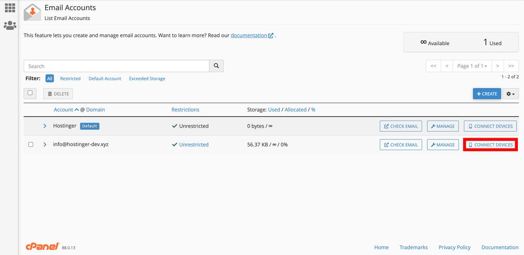 cPanel'de e-posta hesaplarını listeleme