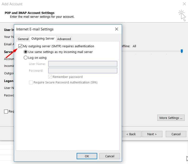 Microsoft Outlook 2013'de giden sunucu kimlik doğrulamasını ayarlama.