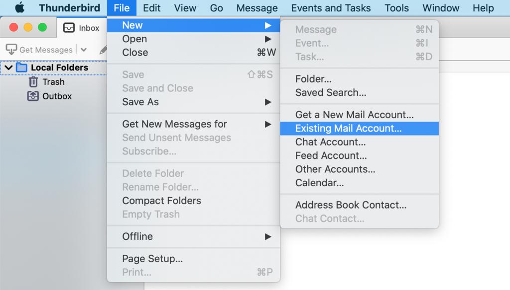 Thunderbird uygulama menüsünden mevcut mail hesabı seçeneğini seçme