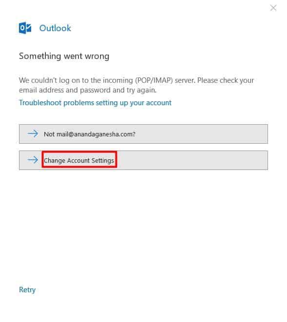 Outlook hata mesajı durumunda hesap ayarlarını değiştirme