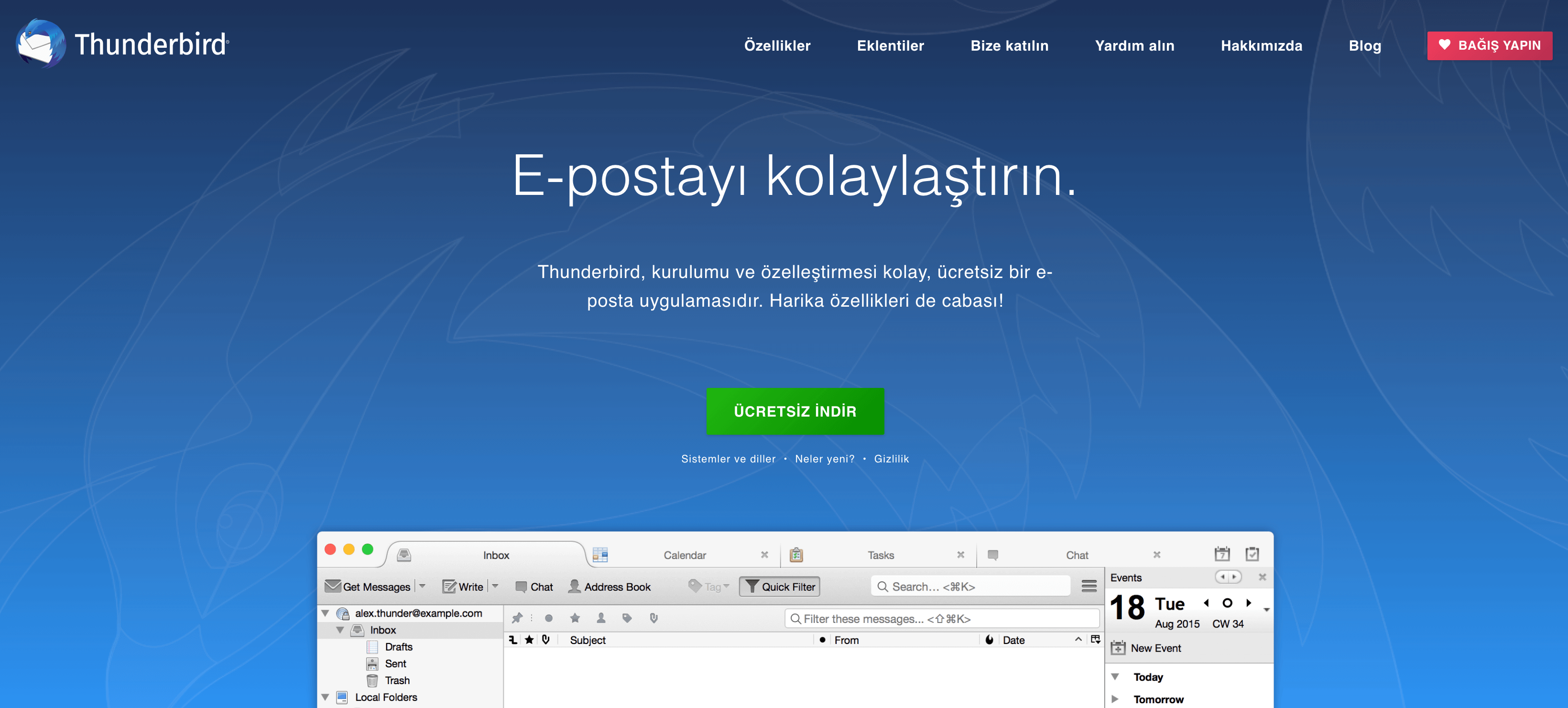 Mozilla Thunderbird uygulamasını indirme