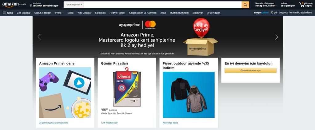 Amazon, bir e-ticaret sitesi örneği