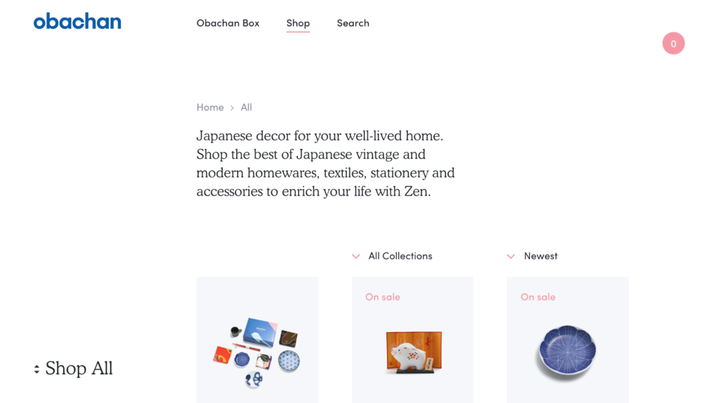 obachan, e-ticaret sitesi örneği