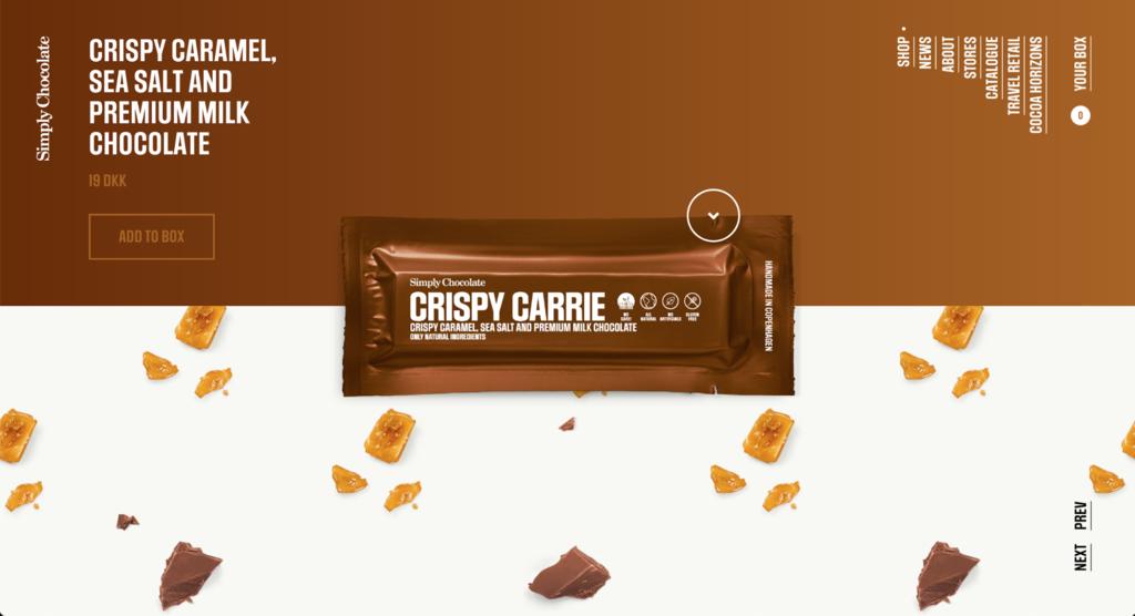 Simply chocolate, e-ticaret sitesi örneği
