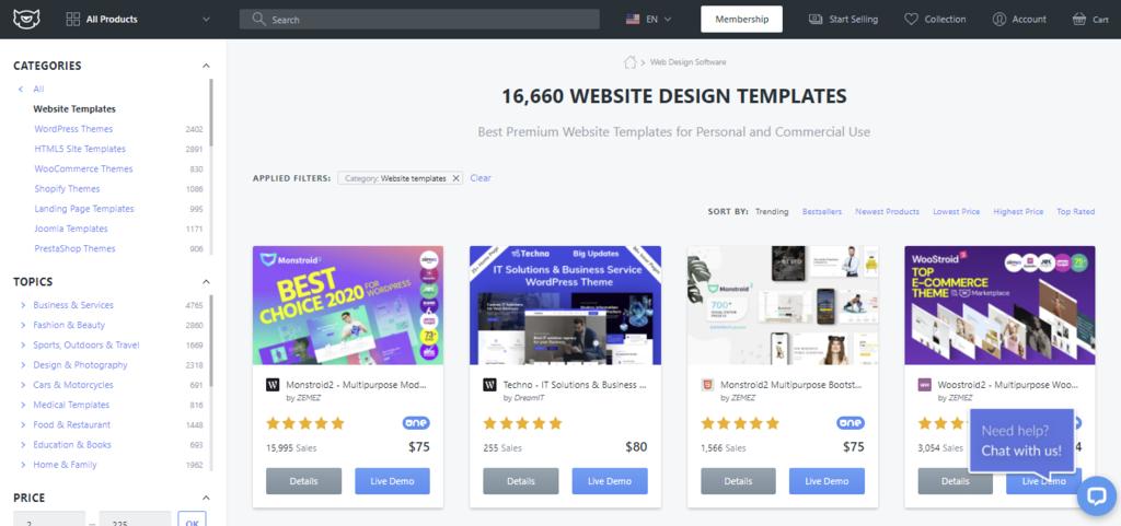 TemplateMonster web sitesi