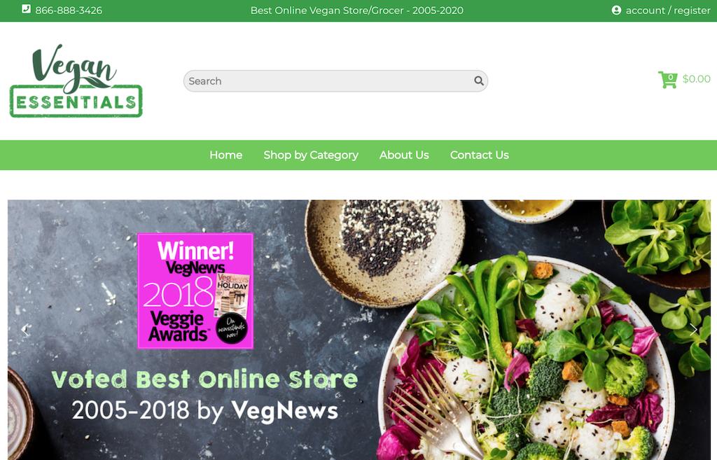 Vegan essentials web sitesi