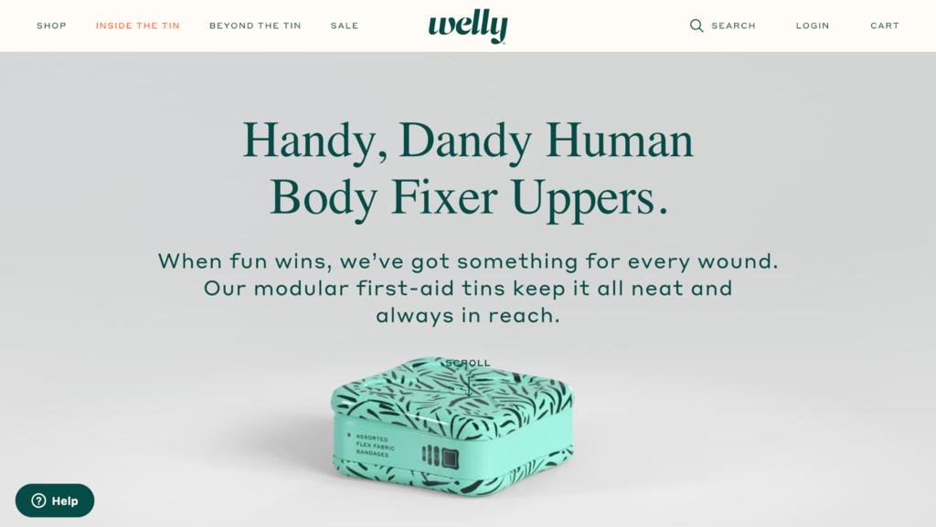 Welly - minimal e ticaret sitesi örnekleri