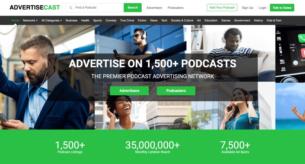 Podcast'ler için bir Reklam Ağı olan AdvertisingCast Anasayfası