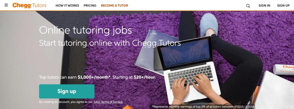 Chegg Tutors'un Web Sayfası