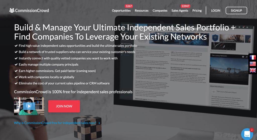 CommissionCrowd, Bağımsız Satış Temsilcileri için bir Web Sitesi