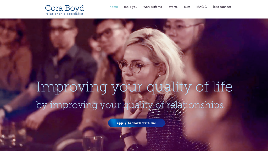 Cora Boyd!un anasayfası. İlişki danışmanlığı yapan küçük işletme sahibi.