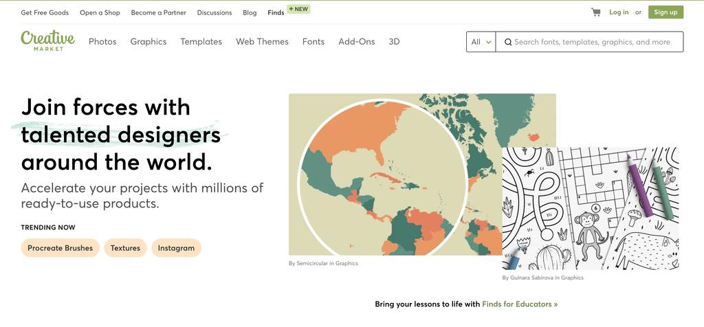 Creative Market Ana Sayfası, Yaratıcı Küçük İşletmeler için bir Pazaryeri