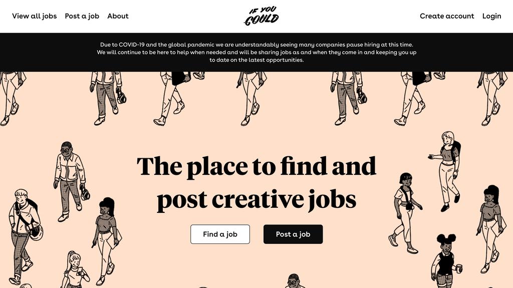 If you Could'un anasayfası, Yaratıcı Çalışanlar için Bir İş Portal Sitesi