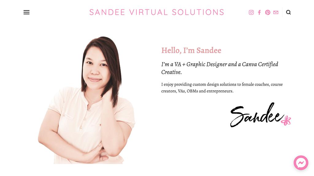 Sandee'nin anasayfası, Bir Sanal Asistan Küçük İşletme Sahibi