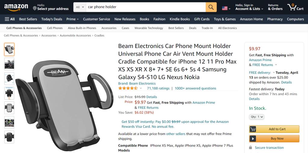 Amazon Araç Telefon Tutacakları