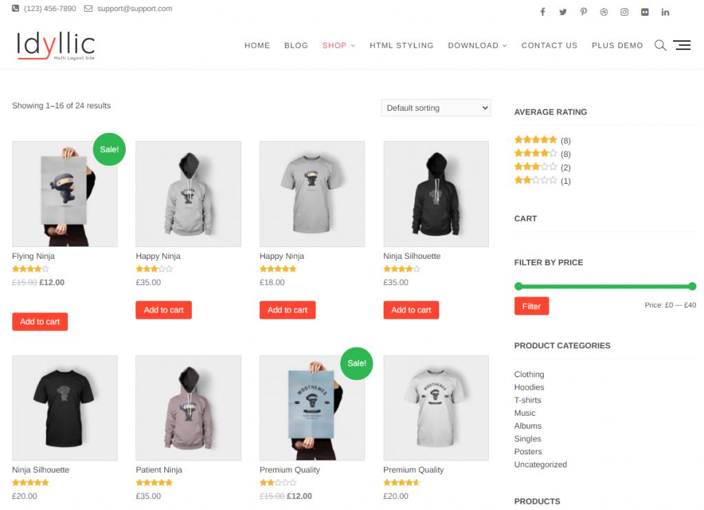 Idyllic WooCommerce Sanal Mağaza Teması